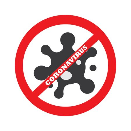 No coronavirus sign isolated on white background drawing by illustration Ilustração