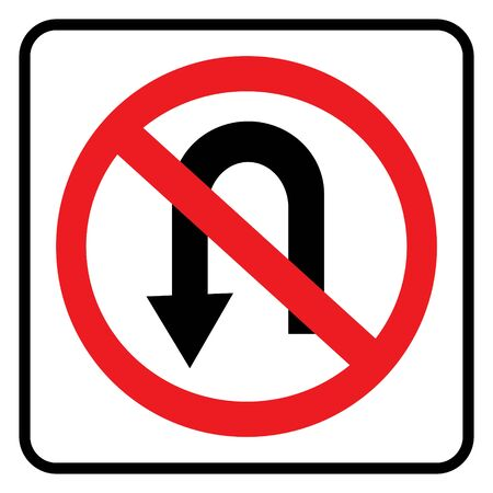 No U turn road sign drawing by illustration. No U turn sign isolate on white background drawing by illustration