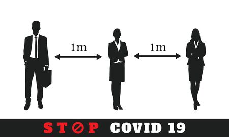 social distance icon.measure protection from spread virus prevention safety people isolation. Stop covid 19 symbol
