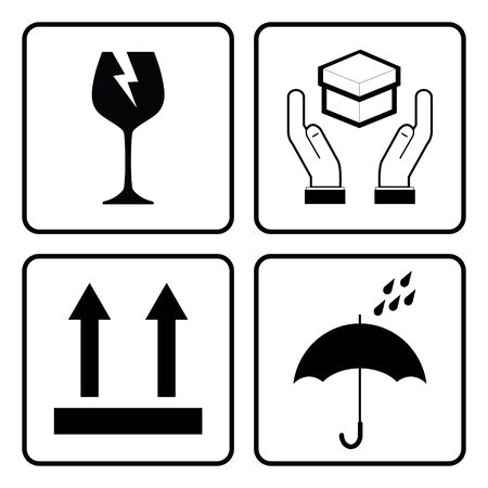 """Internationale Verpackungssymbole. (Symbol """"Zerbrechlich"""", Symbol """"Vorsichtig behandeln"""", Symbol """"Trocken halten"""", Symbol """"Diese Seite nach oben"""") Vektorgrafik"""