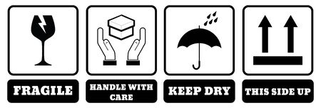 International Packing Symbols with name. (Fragile icon, Handle with care icon, Keep dry icon, This side up icon)