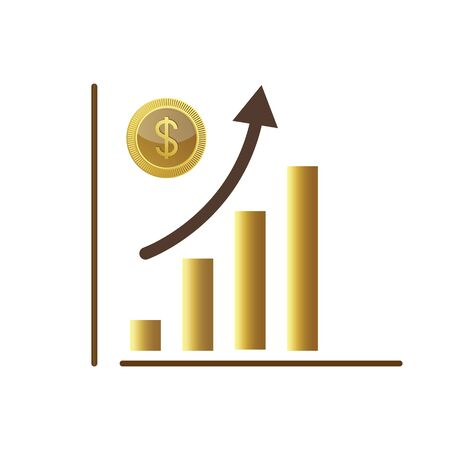 increase money growth icon. Stock market dollar increase diagram