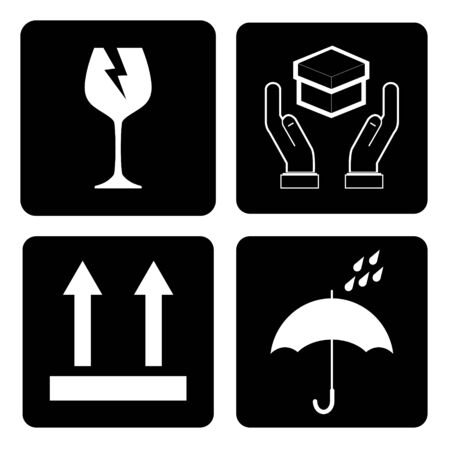 International Packing Symbols on black background. (Fragile icon, Handle with care icon, Keep dry icon, This side up icon)
