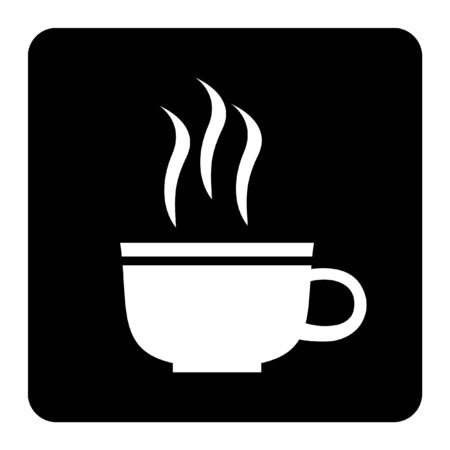 Coffee Shop Icon isolated on black background drawing by illustration