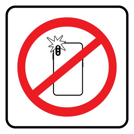 No photo sign,Don`t take photos icon in white background drawing by illustration.Prohibition sign-Vector Ilustração