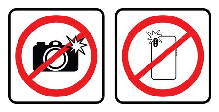 No photo sign collection,Don`t take photos icon collection in white background drawing by illustration.Prohibition sign-Vector Ilustração