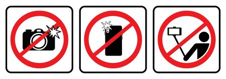 No photo sign and No selfie icon, Don`t take photos & selfies  icons Ilustração