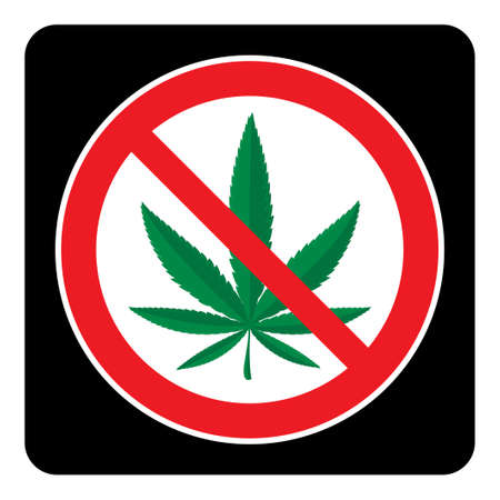 No Marijuana Sign on black background drawing by illustration