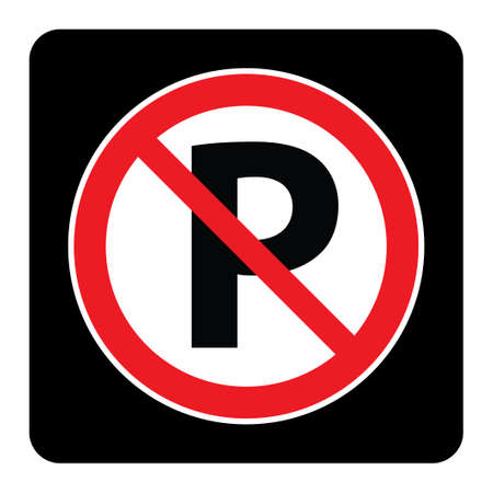 No parking sign on black background drawing by illustration