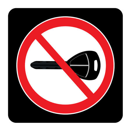 Turn off engine icon on black background drawing by illustration. No Key sign Ilustração