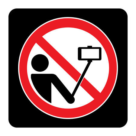 No selfie sign on black background drawing by illustration. do not take selfie icon.