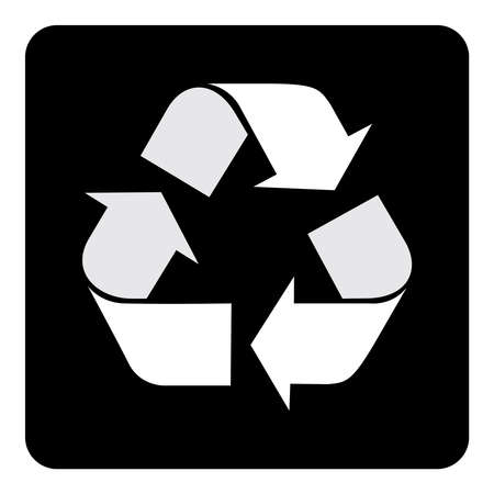 Recycle Icon Symbol on black background drawing by illustration