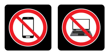 No phone icon and No Laptop icon on black background drawing by illustration