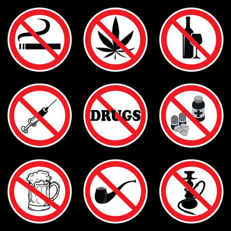 No Drugs symbols on black background drawing by illustration. Nine Prohibition  signs