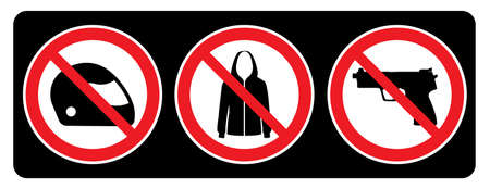 No Helmet, No Jacket and No Gun signs drawing by illustration Ilustração