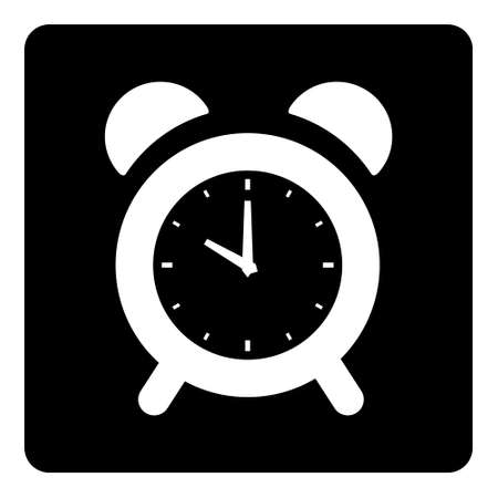 Alarm Clock Icon isolated on black background Ilustração