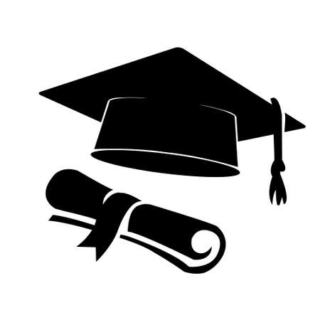 Graduation hat and diploma silhouette isolated on white background