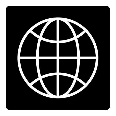 Globe Icon. World Symbol. Earth Sign isolated on black background