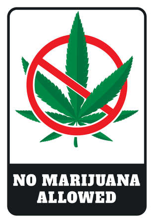 No Marijuana allowed sign drawing by illustration