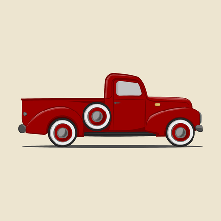 Retro pickup truck. Vector Illustration