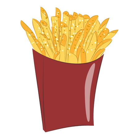 frites: Sweet potato fries in paper box.