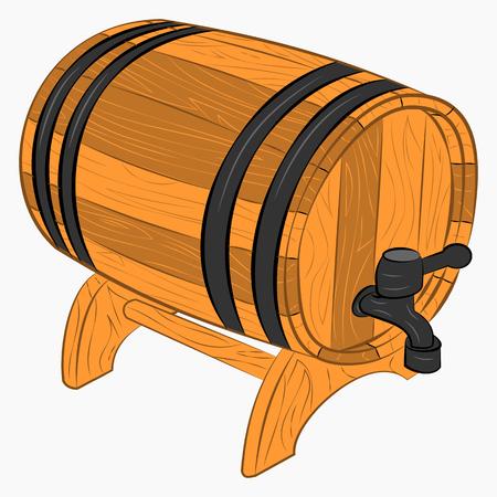 Wooden barrel of beer