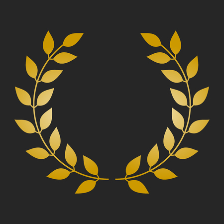elite sport: Gold award laurel wreath on dark background.