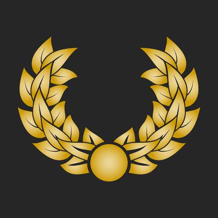 elite: Gold award laurel wreath on dark background.