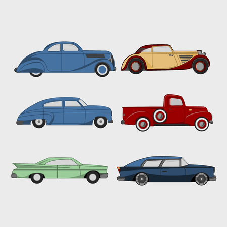 Set of retro cars.