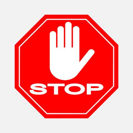 Ein rotes achteckiges Stoppschild, STOP verbietet verschiedene Aktivitäten
