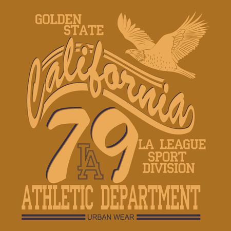Los Angeles typography, t-shirt stamp graphics, vintage tee print, athletic apparel design graphic print Illustration