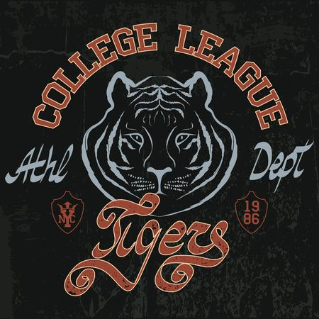 Tiger style tee graphic. Sport typography emblem, t-shirt stamp graphics, athletic apparel design Illustration