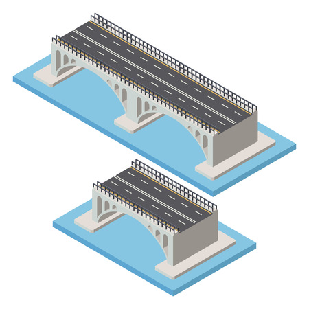 Vector isometric bridge. Transport  infrastructure 3d element representing low poly structure for city map creation. Illustration