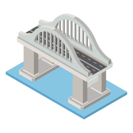 Pont isométrique vectoriel. Infrastructure de transport élément 3d représentant une faible structure poly pour la création de la carte de la ville.