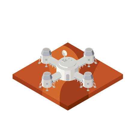 habitable: Space base on Mars. Vector isometric illustration. Illustration