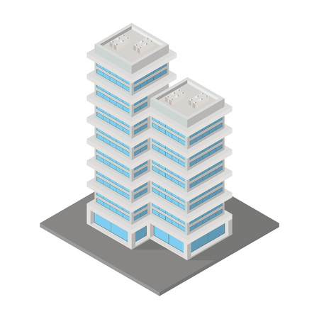 Vector isometric icon ofice or apartment building city infrastructure architecture 3d element representing low poly building for city map creation. Illustration