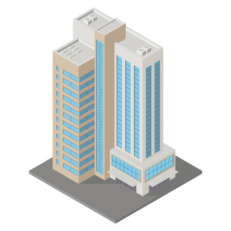 Vector isometric icon apartment building city infrastructure, architecture 3d element representing low poly building  for city map creation.