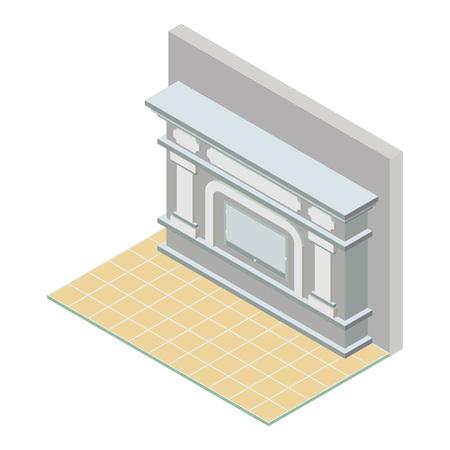 mantelpiece: Vector isometric fireplace icon Illustration