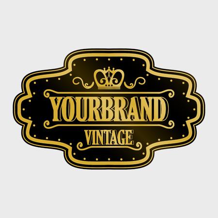 Antiek label, vintage frame design, retro logo.