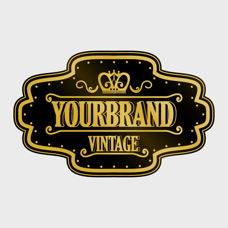 Antique label, vintage frame design, retro logo. Фото со стока