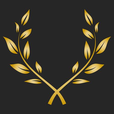 Gold award laurel wreath on dark background.