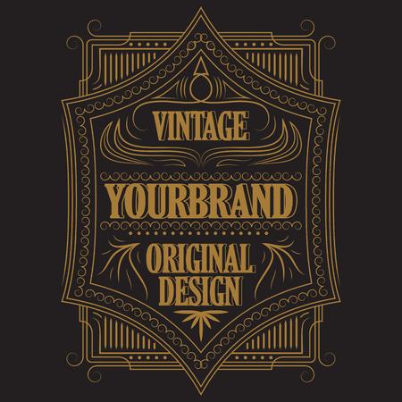 Antique label, vintage frame design, retro logo. 版權商用圖片