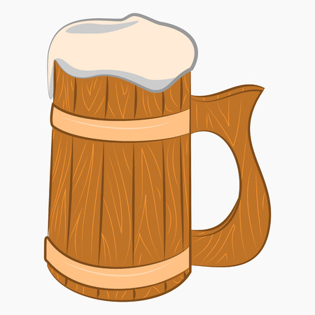 pause button: Wooden mug with beer