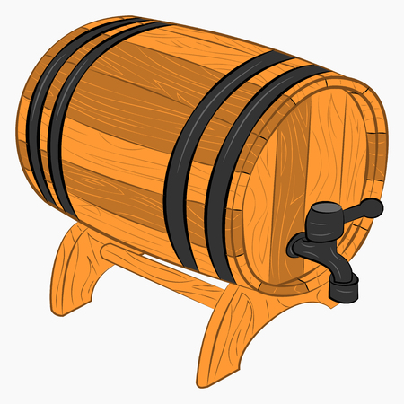 Wooden barrel of beer