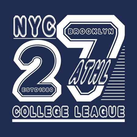 New York Brooklyn Sport wear, grunge typography emblem, t-shirt stamp graphics, vintage tee print, Custom type design Hand drawn typographic, apparel fashion print.