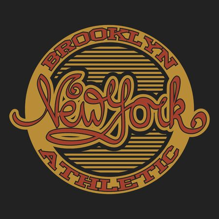 New York Brooklyn Sport wear typography emblem, t-shirt stamp graphics, tee print, athletic apparel design