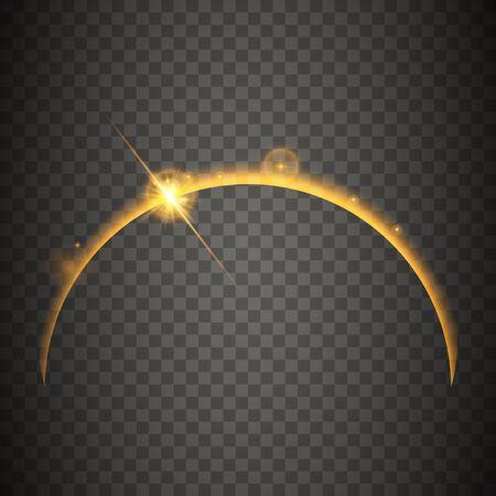 Lever de soleil sur la planète. Effet lumineux abstrait doré, flare, étoiles brillantes. Effet de lumière isolé sur fond transparent. Illustration vectorielle.