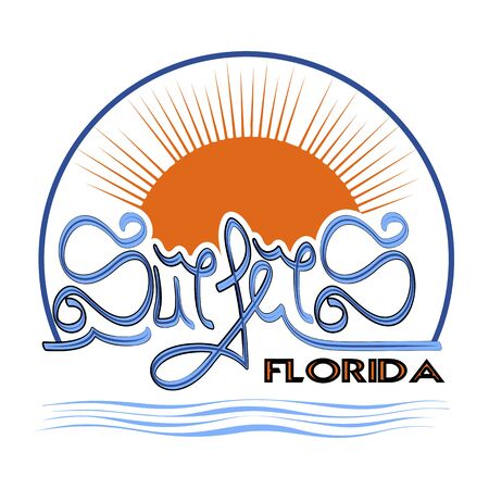 Surfers Florida t-shirt graphic print design. Wear typography, Tee emblem. Florida surf-sport Creative design. retro print stamp