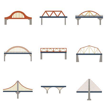 Jeu d'icônes de ponts isolés de vecteur