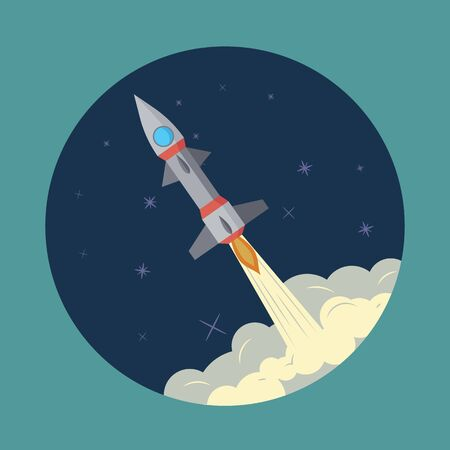 Space rocket launch, ship, vector. Start up concept illustration of a business product on the market. Standard-Bild - 139581987